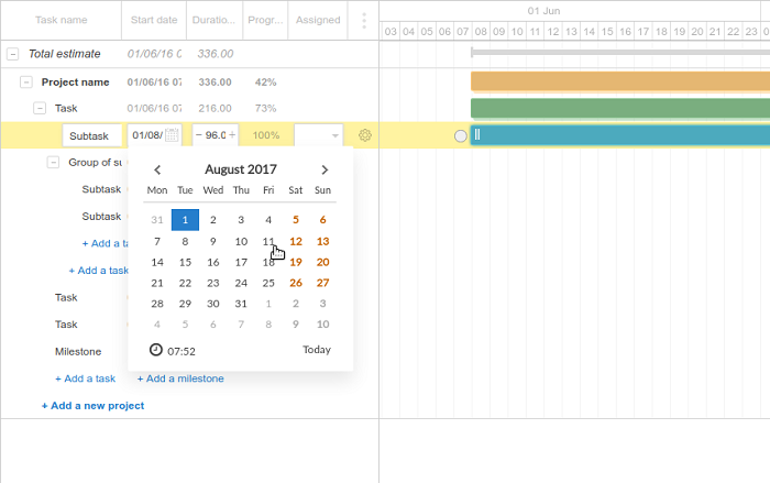 Using Calendar and the GantPRO app