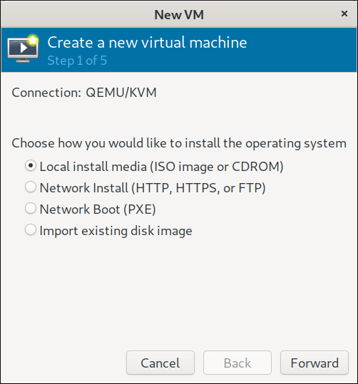 Step 1 virtual machine creation