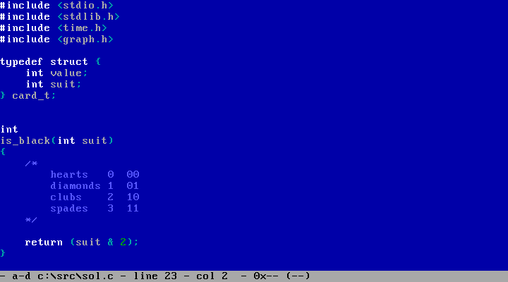 My preferred colors when programming on DOS