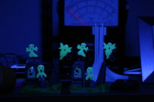 Glow in the dark graveyard scene