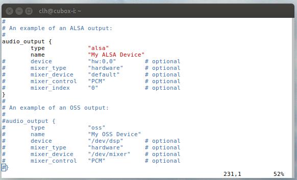 default configuration of the audio output section