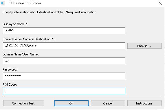 Add destination folder