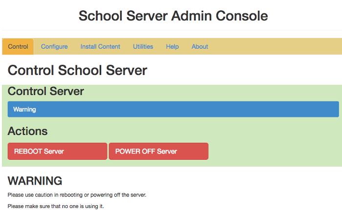 School server admin console