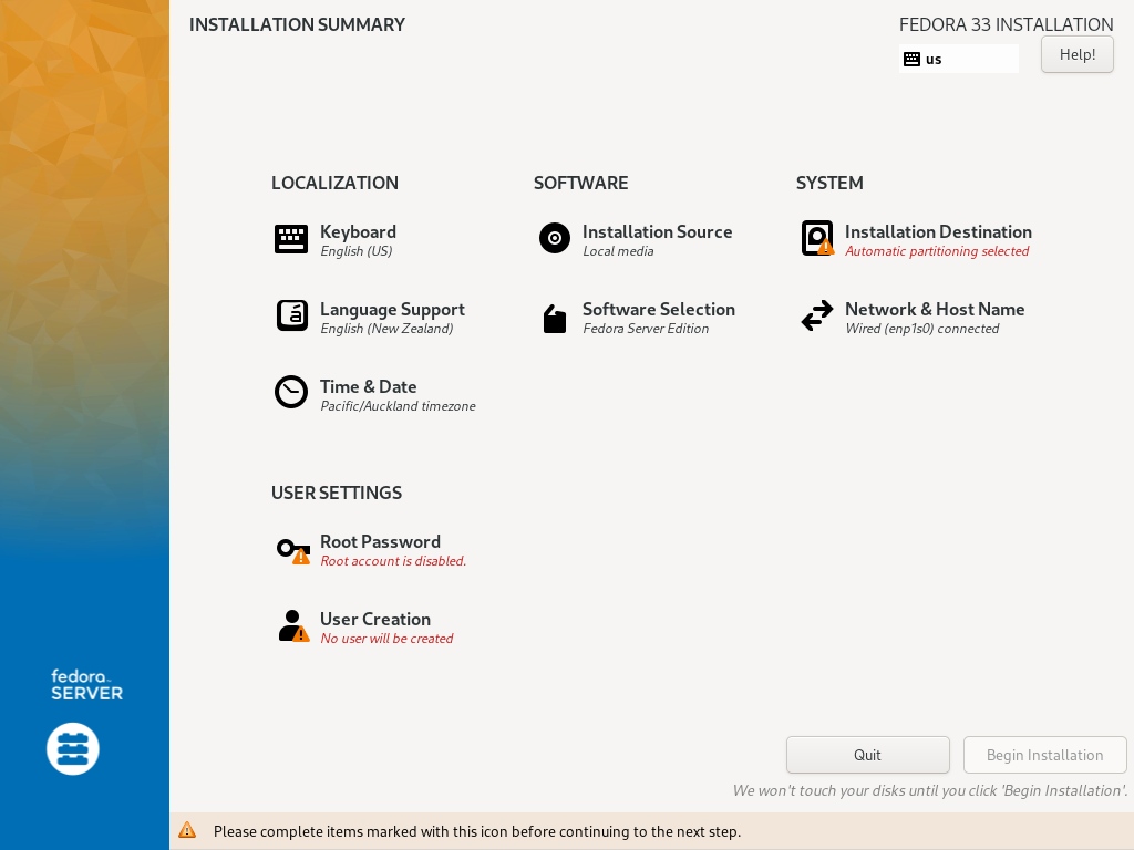 Anaconda installer screen on Fedora
