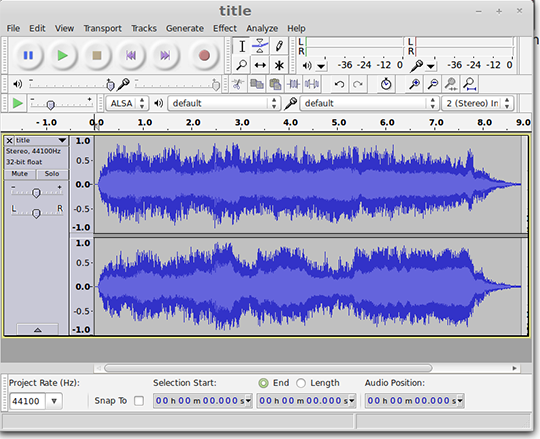 Audacity MP3 editing screenshot
