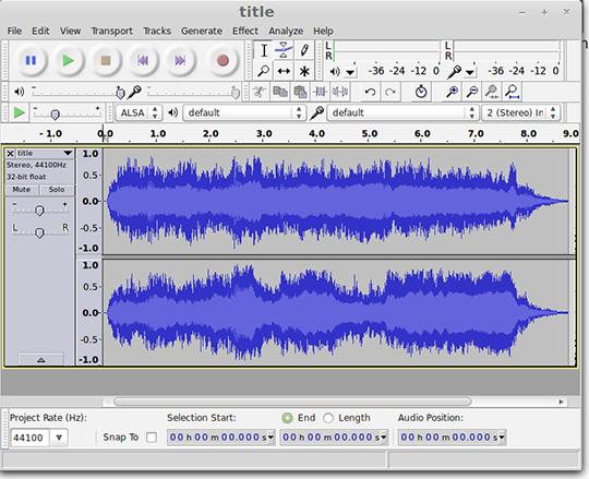 Audacity MP3 editing screenshot