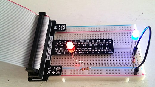 An LED connected to a breadboard