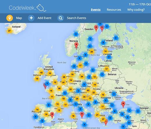 Europe Code Week Map