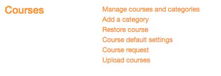 Moodle courses page