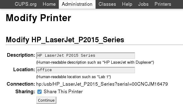 CUPS web UI to share printers