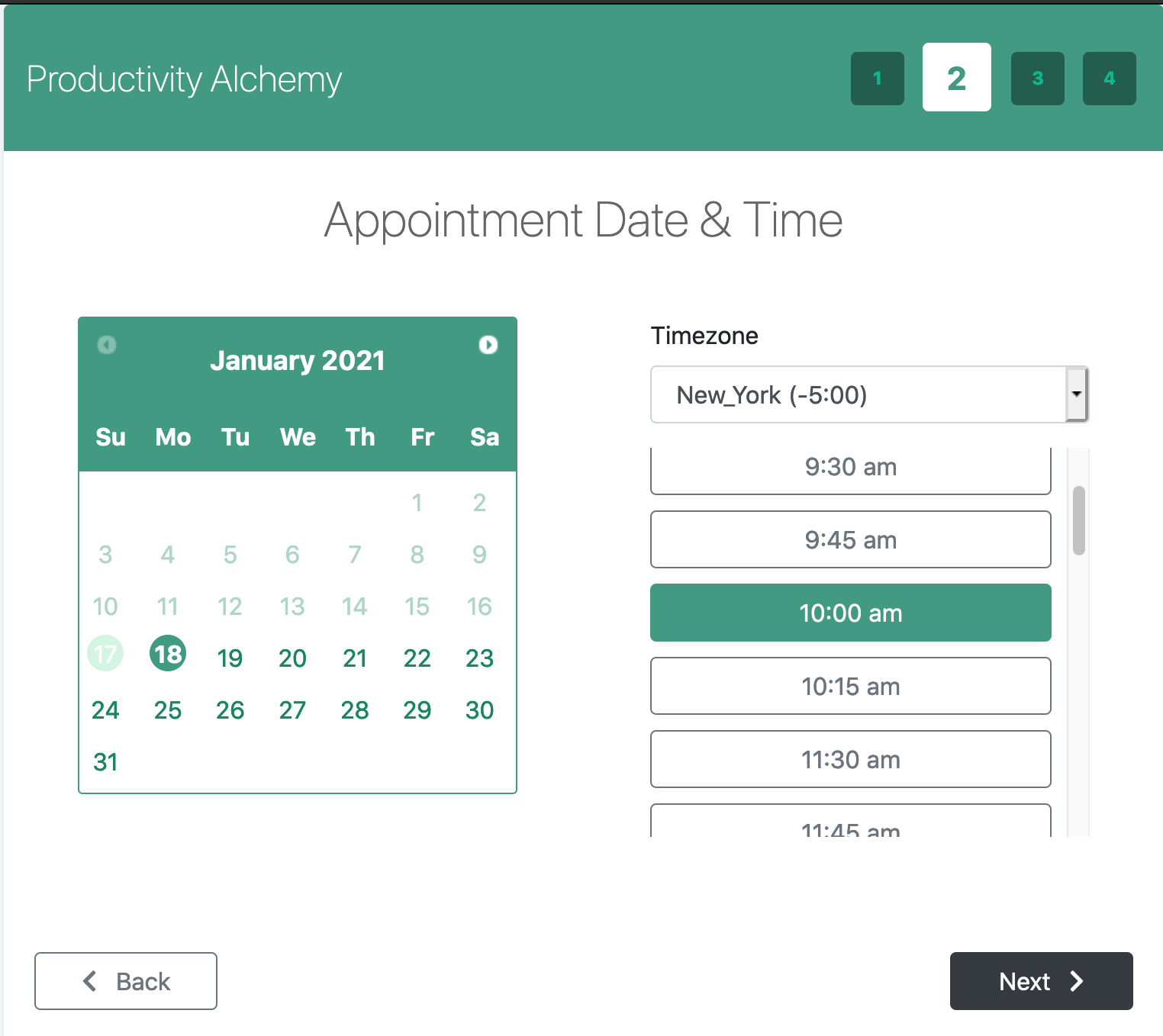 Appointment, Date, and Time settings