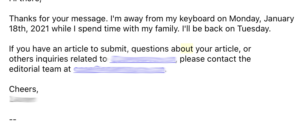 Automated email reply