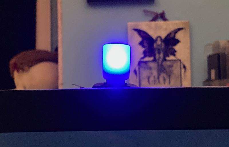 Blue alert indicators light