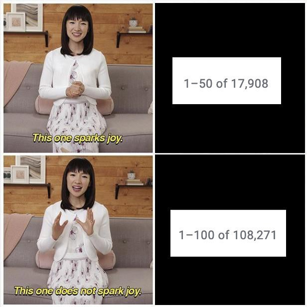 Marie Kondo indicating clearing email will bring you joy