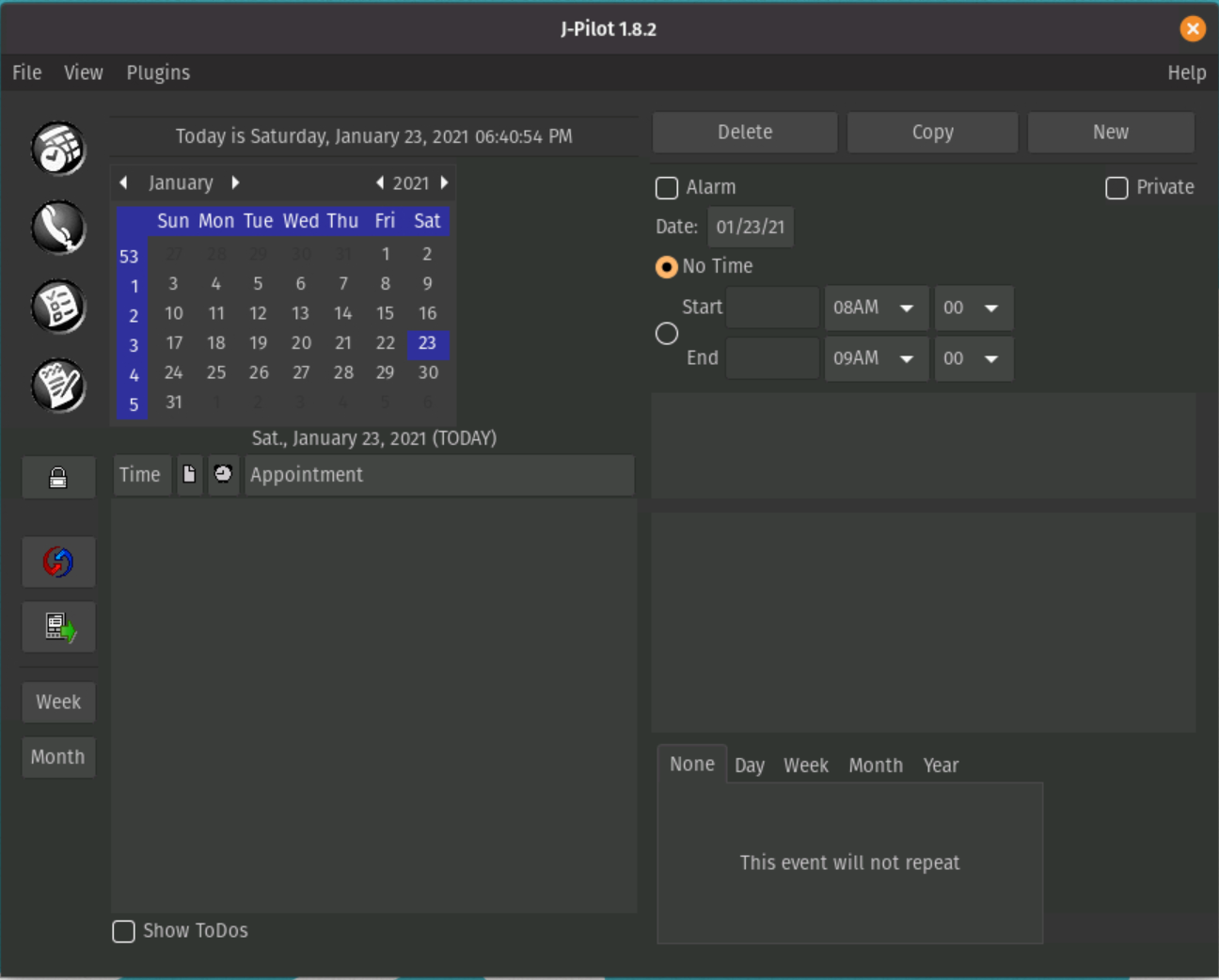 JPilot all in one organizer software interface