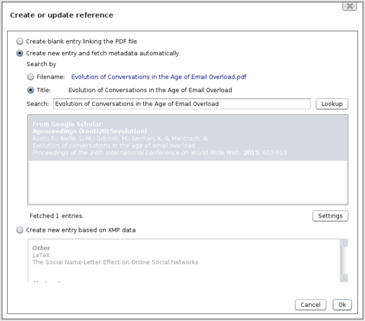Docear Create or update reference Dialog