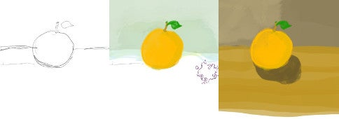 Still-life drawing of an orange