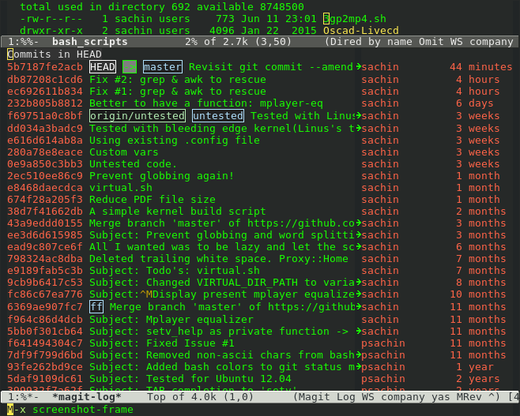 Git commit logs in Emacs magit