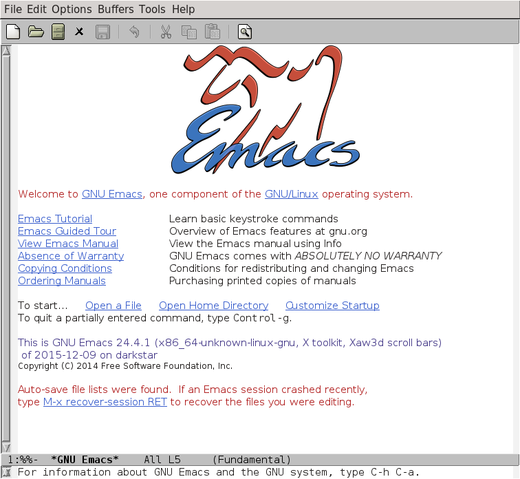 Emacs splash screen