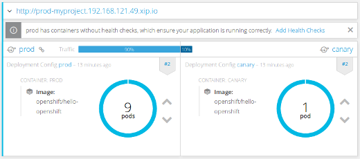OpenShift web console, route preview after sending small percentage of the traffic to the canary version.