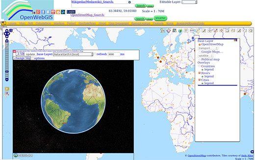OpenWebGIS interface with 3D view