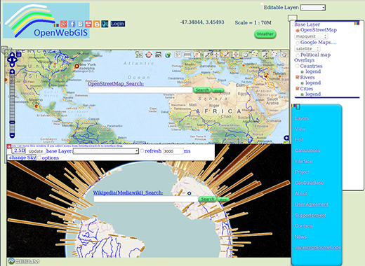 Another OpenWebGIS interface variant