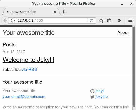 "The sample site created with ""jekyll new"", as shown by Mozilla Firefox."