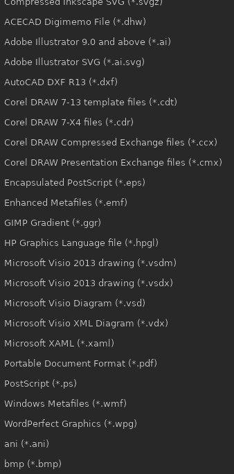 Available Inkscape file formats