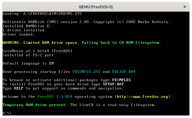 Booting the FreeDOS 1.3 RC4 LiveCD on QEMU