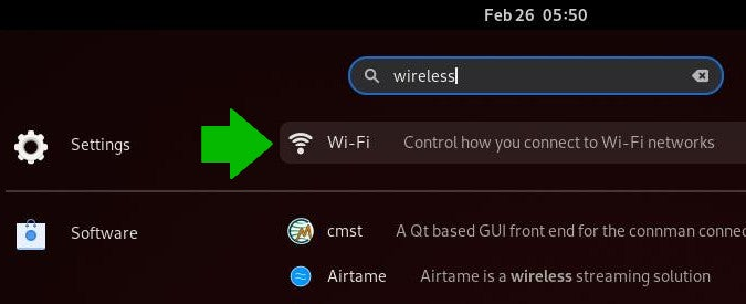 Use GNOME activities to locate your Network or Wi-Fi settings