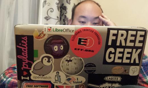 Ernie using Deb's laptop
