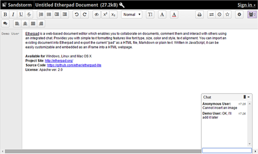 Etherpad collaborative text editor
