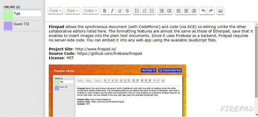 Firepad collaborative text editor