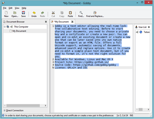 Gobby collaborative text editor