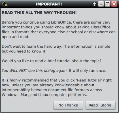 UberStudent LibreOffice First Run Dialog