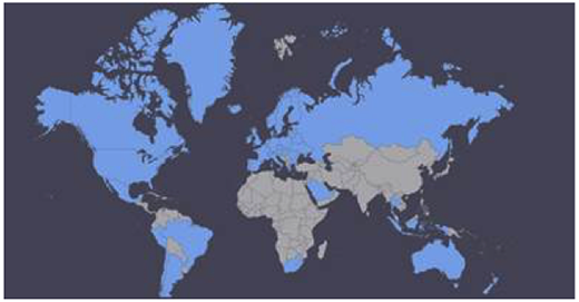 A map of countries surveyed by Citadel-on-the-move