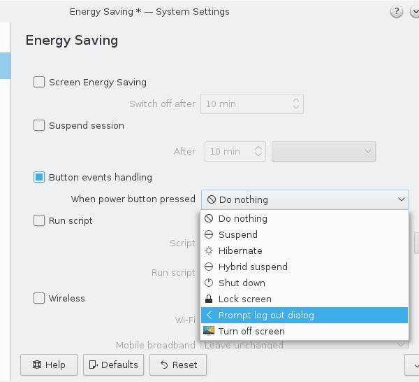 KDE Power Management