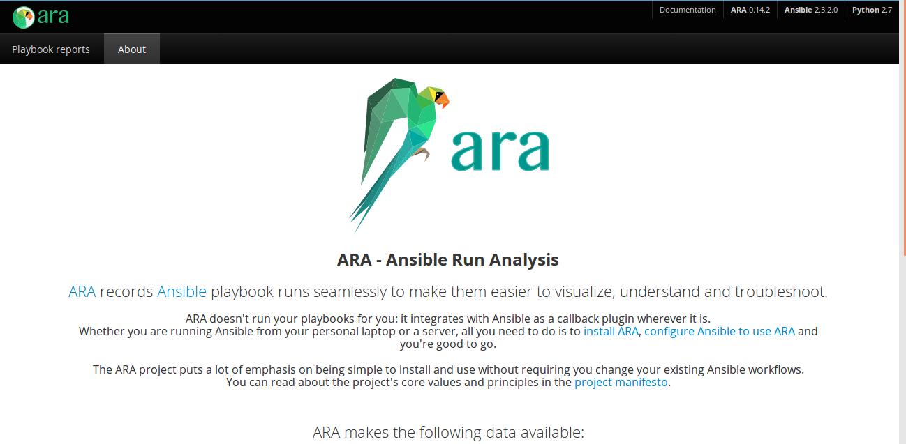 ara landing page