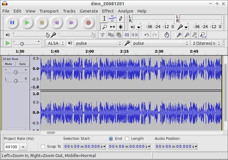 An audio file in Audacity