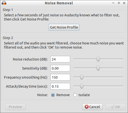 Audacity's noise removal controls