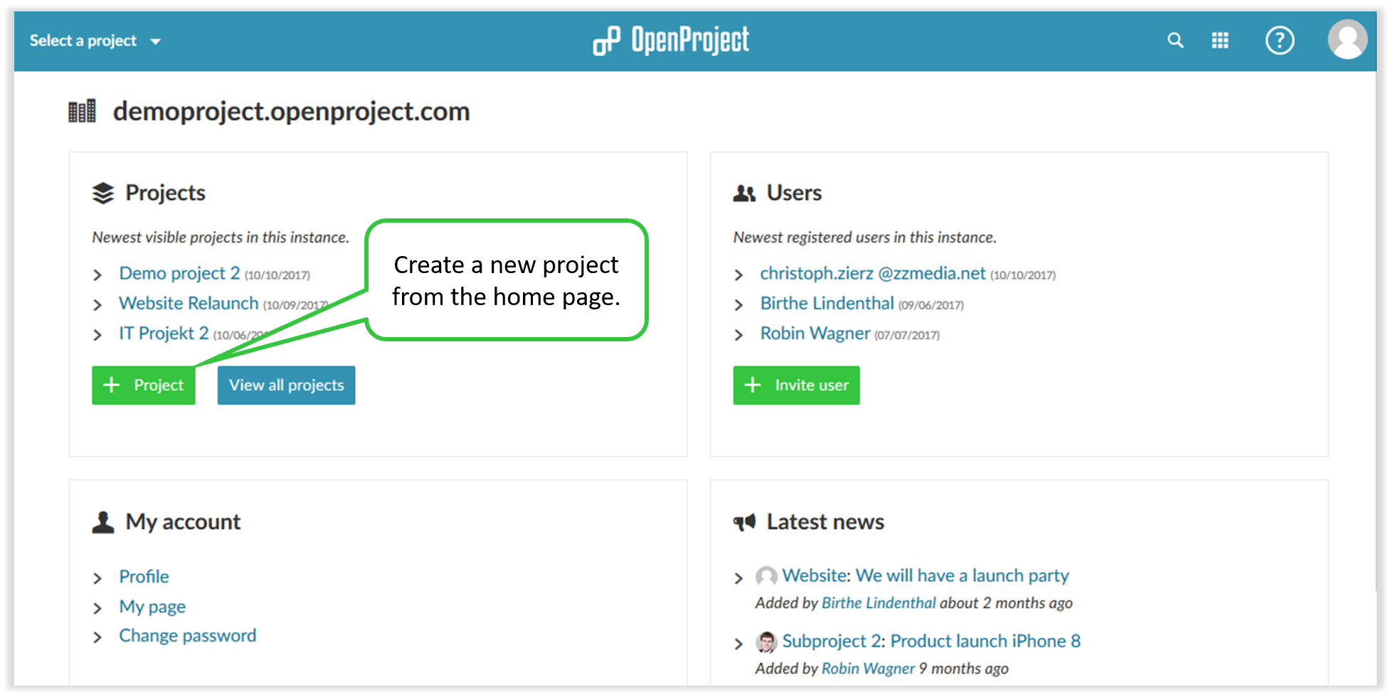 Create a new project in open project