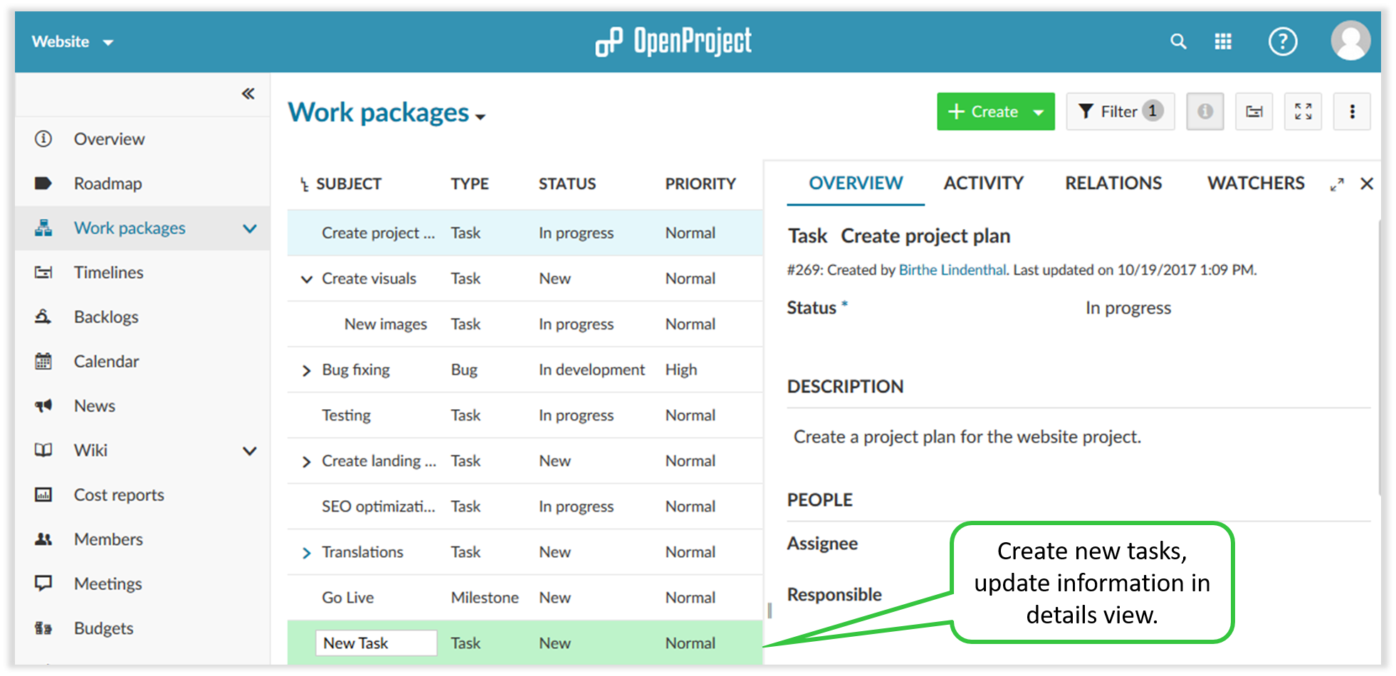 create and update work packages in openproject