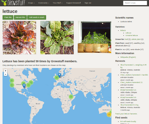 Growstuff website page with information about lettuce