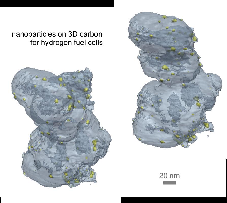 nanoparticles on 3D carbon