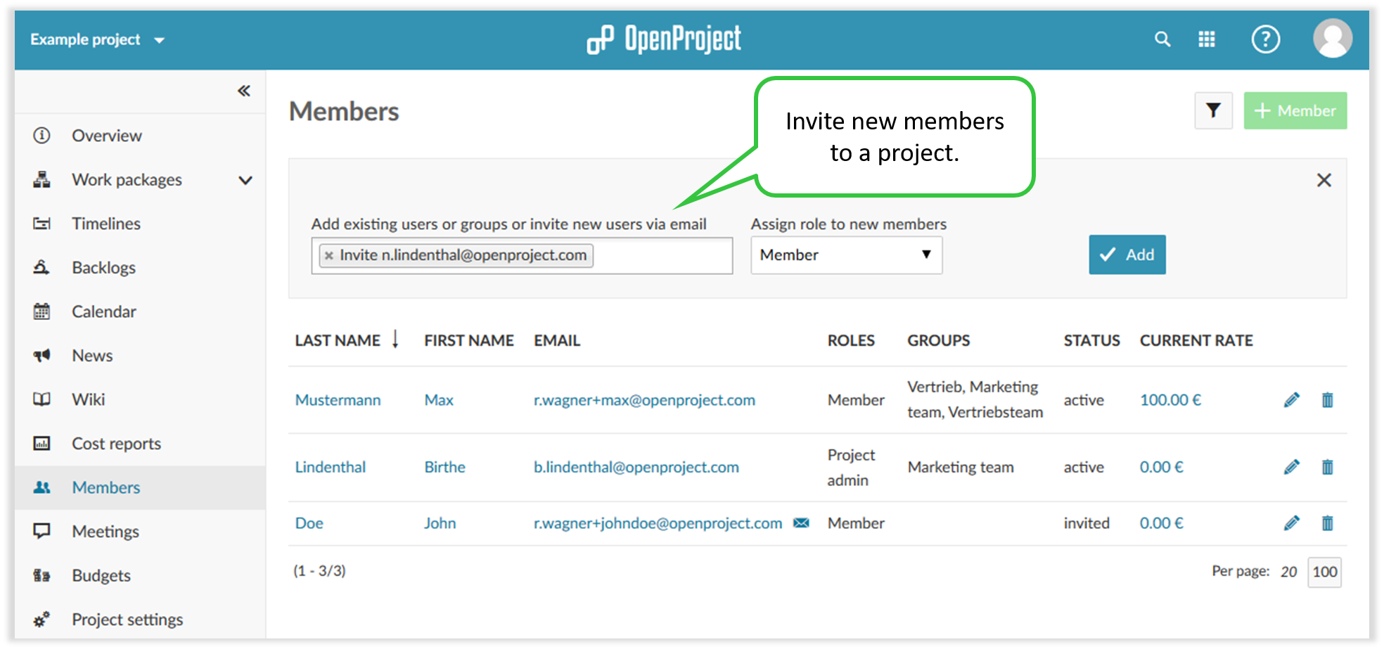 Invite new members to your OpenProject team