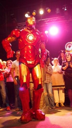 Jeremy Hansen Iron Man costume on stage