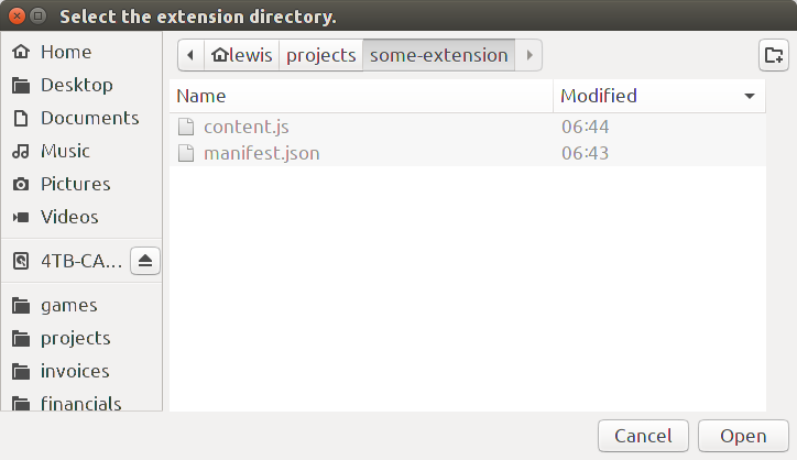 Chromium path showing extension files