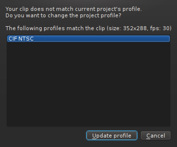 Kdenlive makes its best guess as to the most sensible project profile for the clips you import