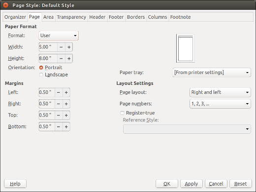 LibreOffice Page Style window