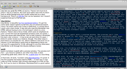 Screenshot of markdown editor gedit